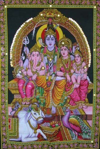 Shiva Family Batik Painting Wall Hanging Handmade Tapestry Cotton Religious God Ganesha 30 x 40""