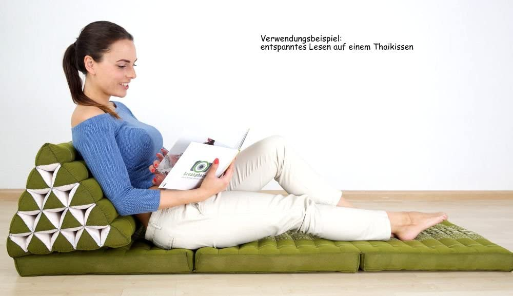 livasia Folding mattress with 100% natural Kapok filling, day bed, foldable cushion, extra large, XXL (orange) Thai Cushion 3 Seat Folds