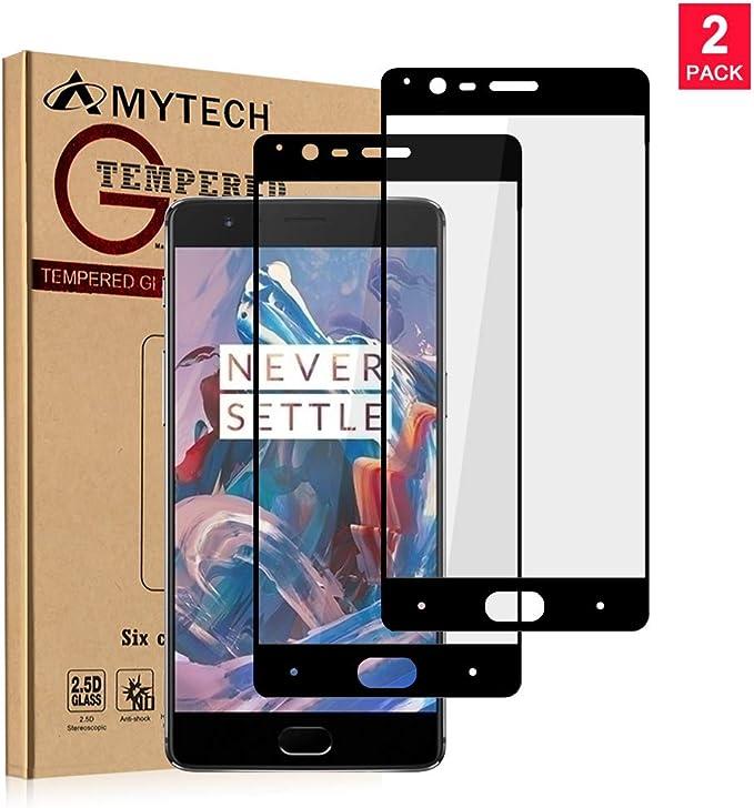 Amytech [2 Pack] OnePlus 3 Protector de Pantalla Cristal Vidrio Templado Edge-Cobertura Completa 2.5D 0.33mm 9H Premium Protector de Pantalla para OnePlus 3 (Negro): Amazon.es: Electrónica