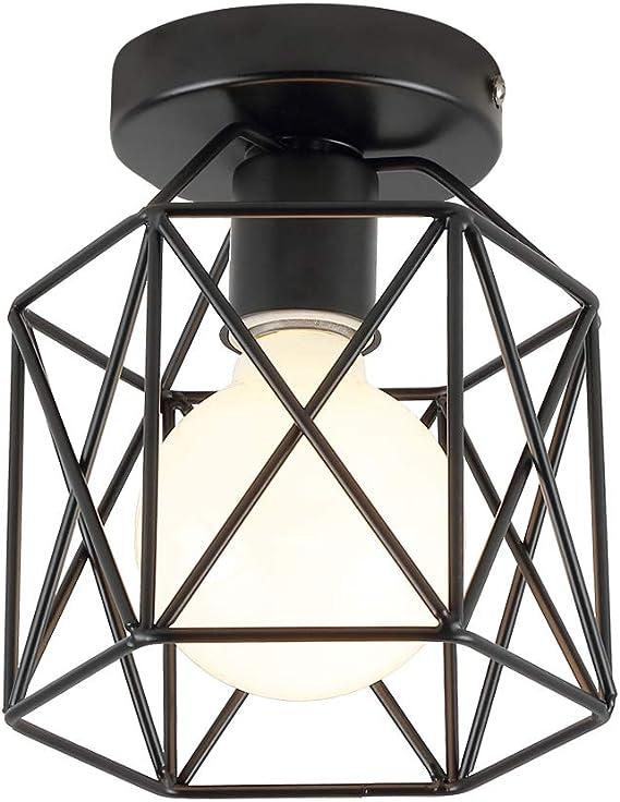 Industrial Vintage Deckenleuchte Semi-Flush Mount Pendelleuchte Geometrischen Metall Lampenschirm Deckenlampe mit E26//E27 Fassung