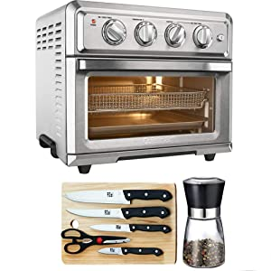 Cuisinart Convection Toaster Oven Air Fryer with Light Silver (TOA-60) with Cuisinart Triple Rivet Collection 3-Piece Knife Set, Home Basics Two Tone Bamboo Cutting Board & Spice Mill