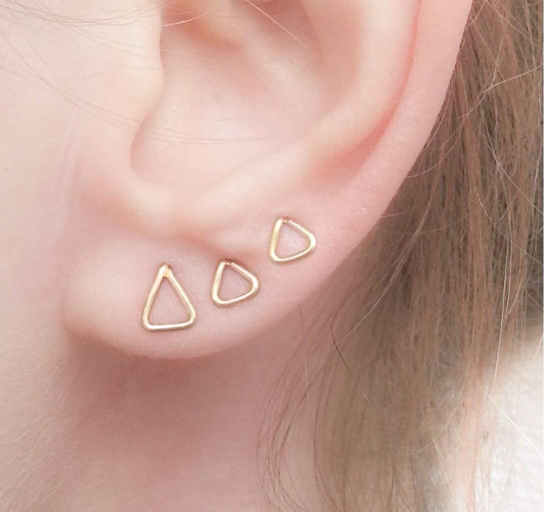 Amazon Com Triangle Studs Set Geometric Earrings Combination