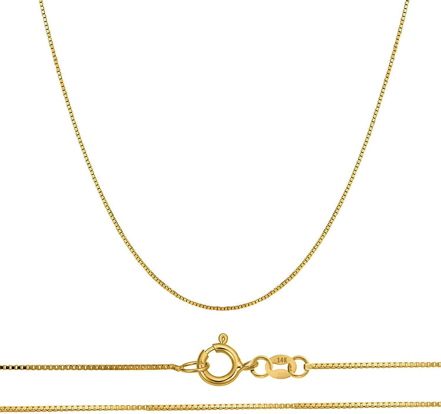 """Orostar 14K Solid Gold 0.45mm Thin Box Chain Pendant Necklace, 16""""-20"""" - Yellow, White, and Rose Gold"""