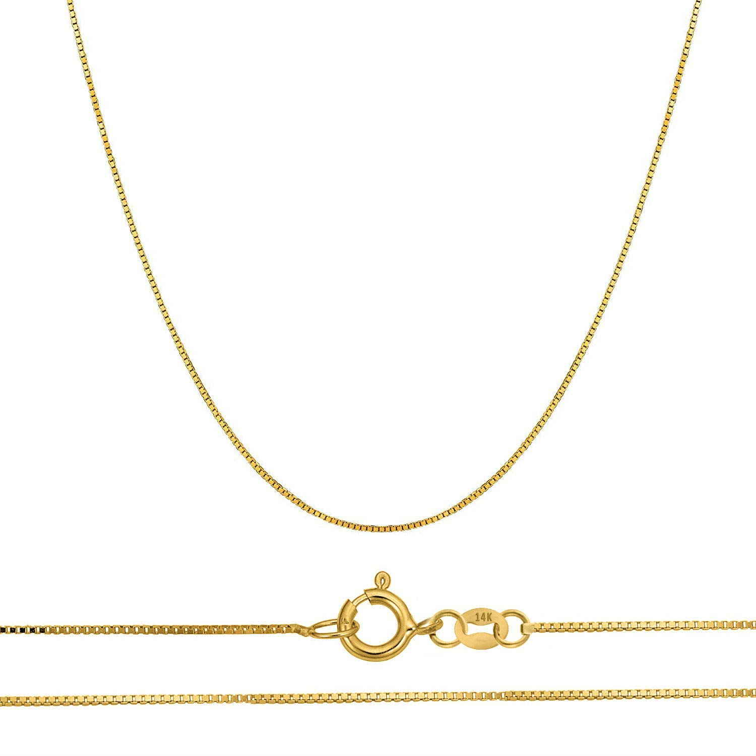 Orostar 14K Solid Gold 0.45mm Thin Box Chain Pendant Necklace, 16''-20'' - Yellow, White, and Rose Gold (Yellow Gold, 16)