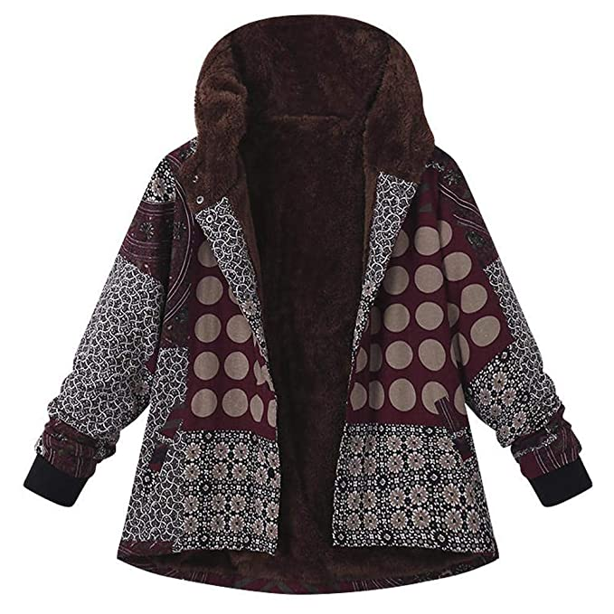 FELZ Abrigos Mujer Invierno Abrigo Estampado Mujer Abrigo con Capucha Etnico Mujer Abrigos Jacket Parka Pullover Invierno Elegantes: Amazon.es: Ropa y ...