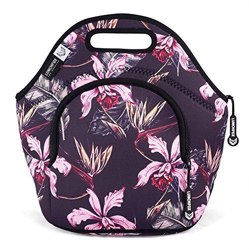 LunchFox Vintage Floral Print Neoprene Lunch Bag Tote - The Huntington (Print Vintage Tote)