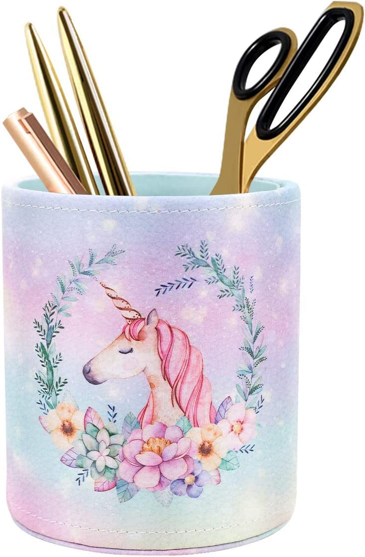 WAVEYU Pen Holder for Girls Desk Decor Pencil Cup for Decoration Durable Leather Desk Organizer Makeup Brush Holder, Cute Unicorn