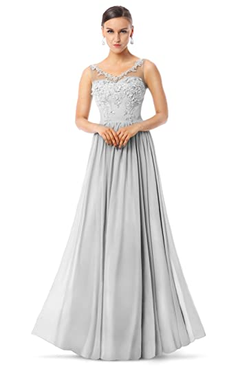 Charmian Womens Courtlike A-line V-Neck Appliques Chiffon Long Prom Homecoming Dance Formal