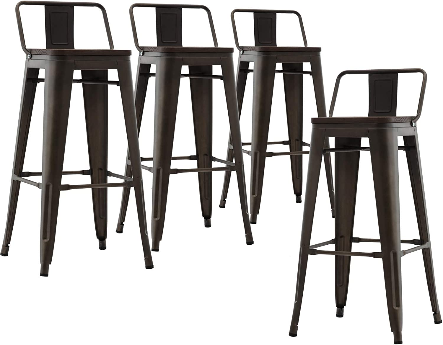 CIMOTA Metal Bar Stools 30 inches with Low Back Industrial Barstools Patio Bar Chair Cafe Side Stool for Kitchen Indoor Outdoor (Matte Gun, Set of 4)