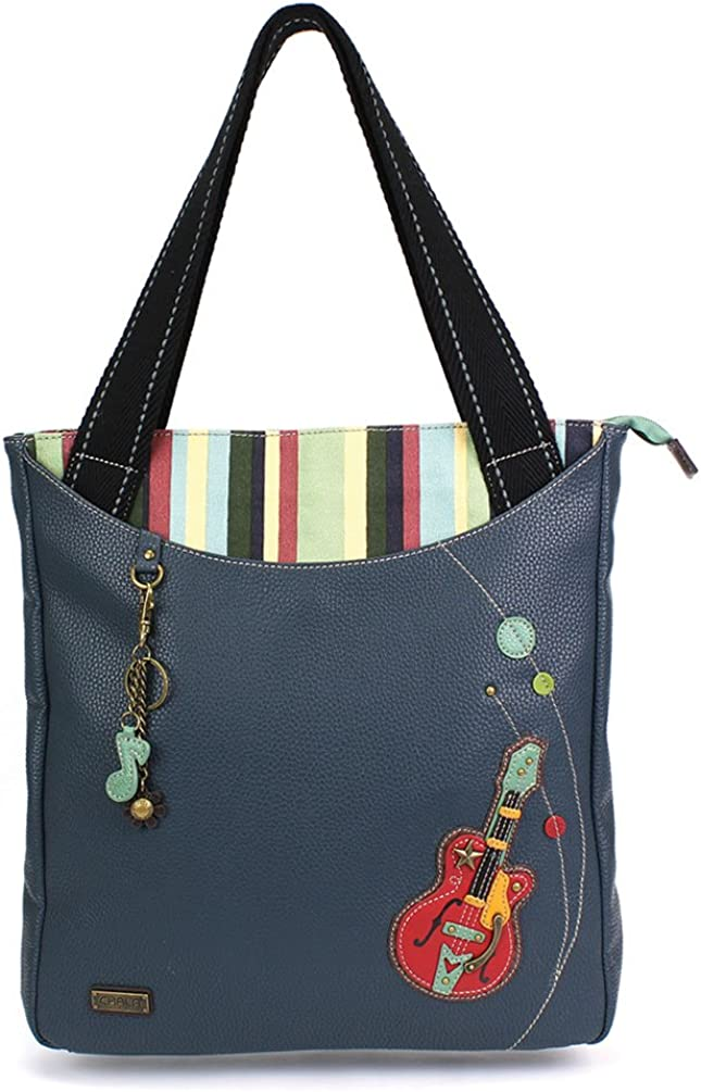 Chala Guitar Striped Zip Tote Handbags in Navy Blue Color -for music lover