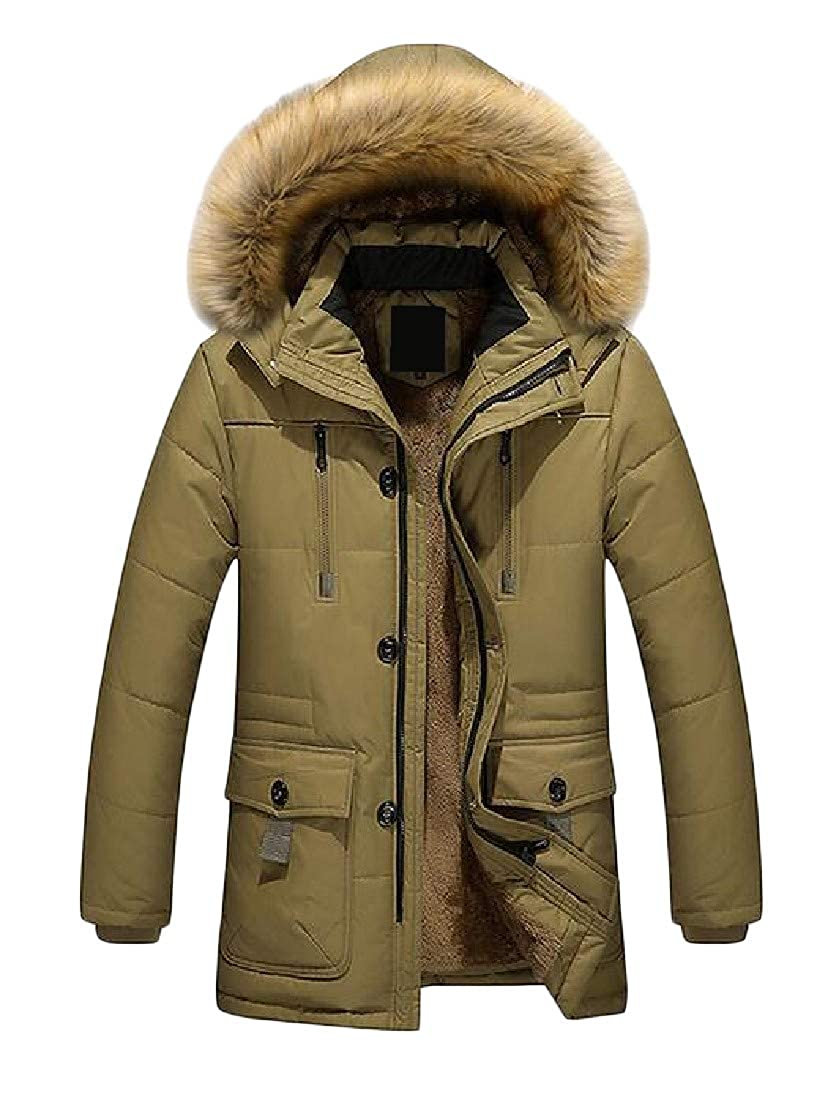 Lutratocro Mens Faux Fur Hooded Puffer Sherpa Lined Big /& Tall Parka Jackets Coat