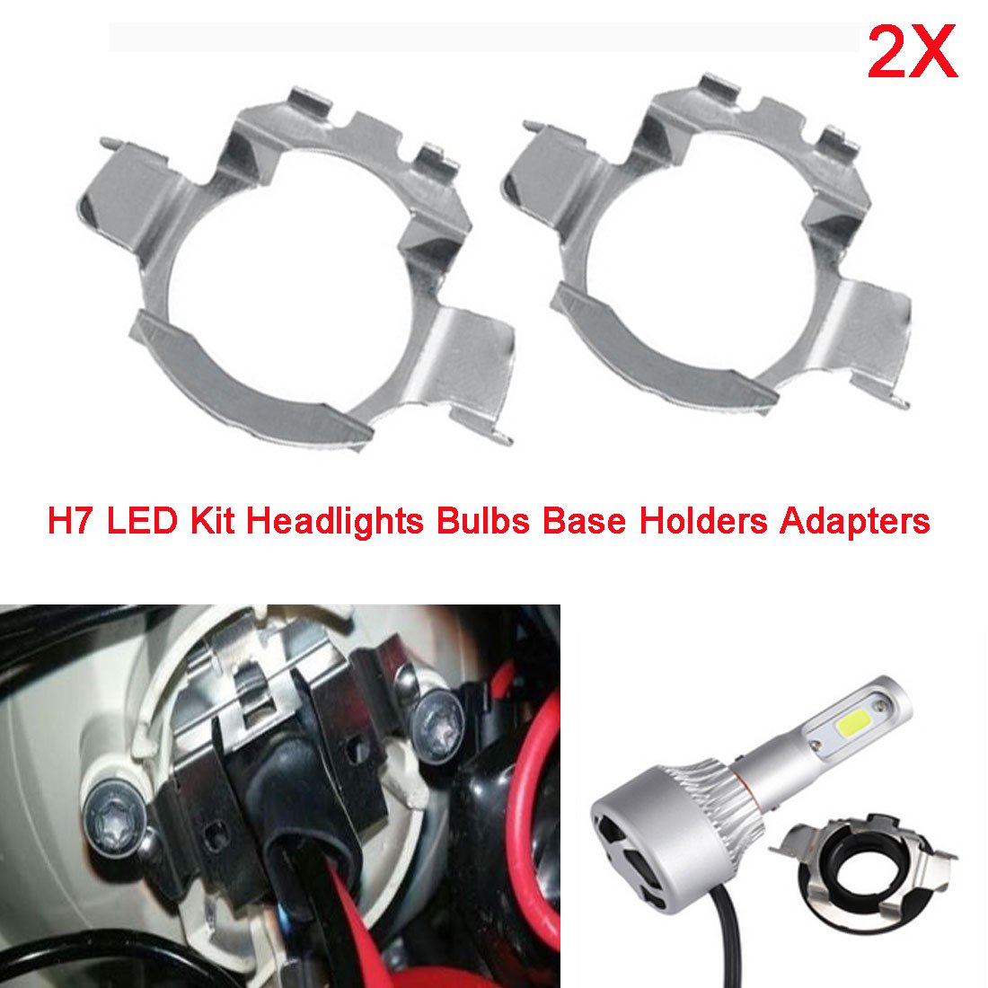Adaptateurs de supports base de H7 Ampoules Phares LED pour 5 Series X5 A3 A4L A6L en mé tal RGAta