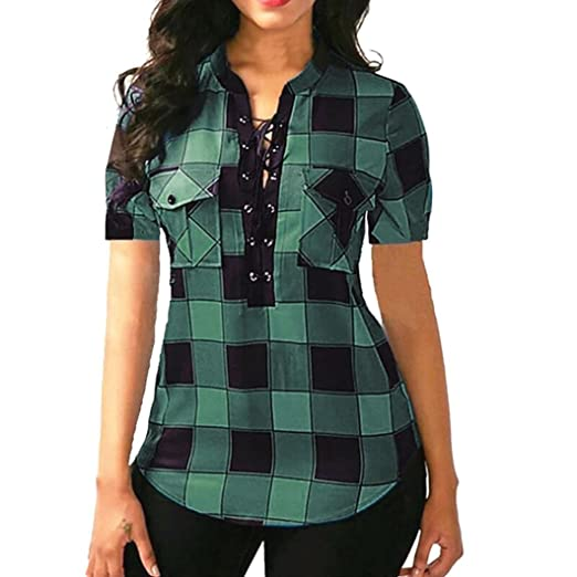 c3f58be90ef02 Howley Women Plus Size Criss Cross Front Lattice Short Sleeve Blouse  Pullover Tops Shirt (Green