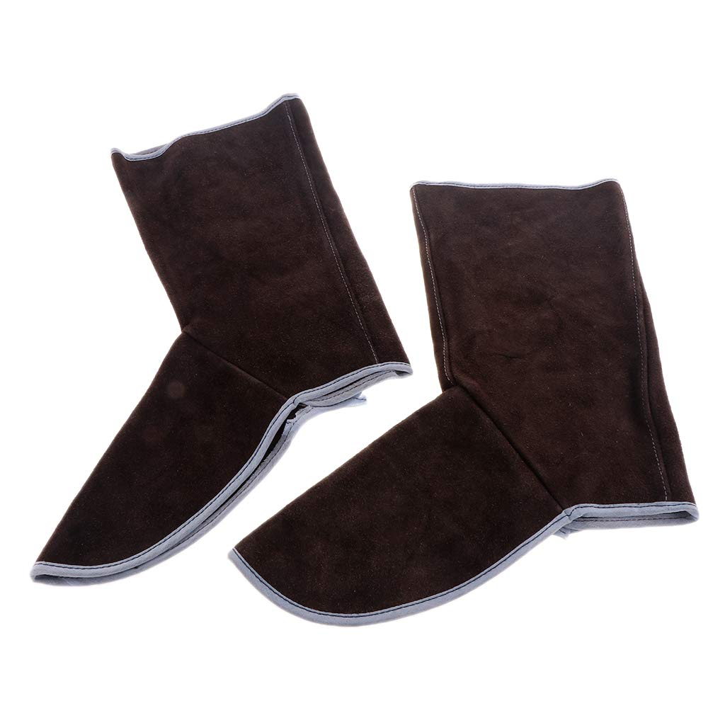 Baosity Heavy Duty Leather Welding Coat Work Apron XXL+ 1Pair Welding Foot Covers - Heat Resistant & Flame Resistant BBQ Apron, Adjustable, Brown by Baosity (Image #7)