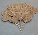 Rustic Burlap Wedding Cupcake Toppers 24 Pack
