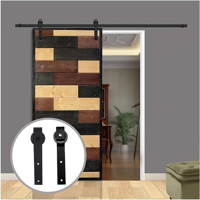LWZH 10FT/305 cm Herraje para Puerta Corredera Kit de Accesorios para Puertas Correderas,Negro J-Forma: Amazon.es: Bricolaje y herramientas