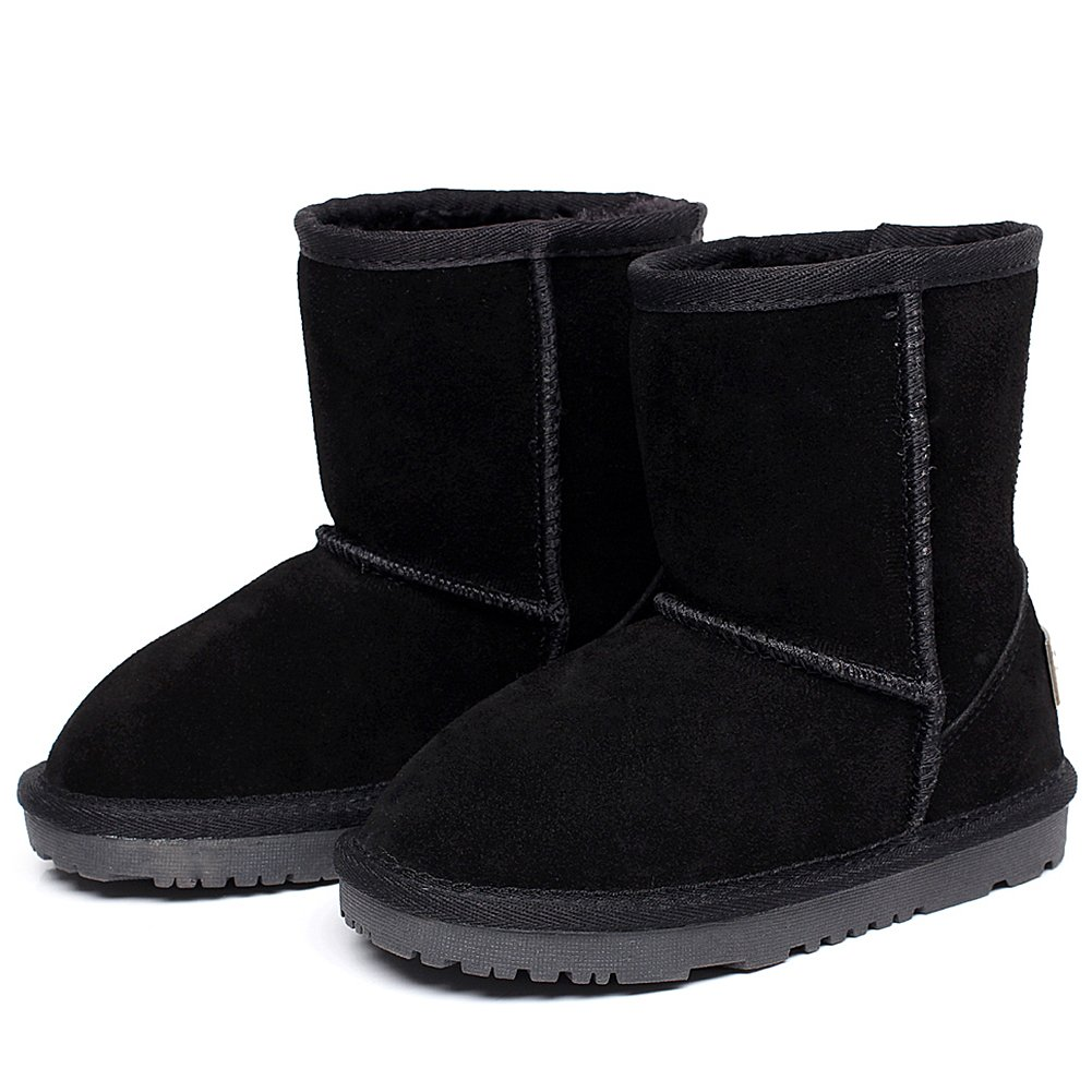 Shenn Boy's Girl's Cute Comfort Ankle High Winter Warm Suede Leather Snow Boots TD1025(Black,13 M US Little Kid) by Shenn (Image #5)