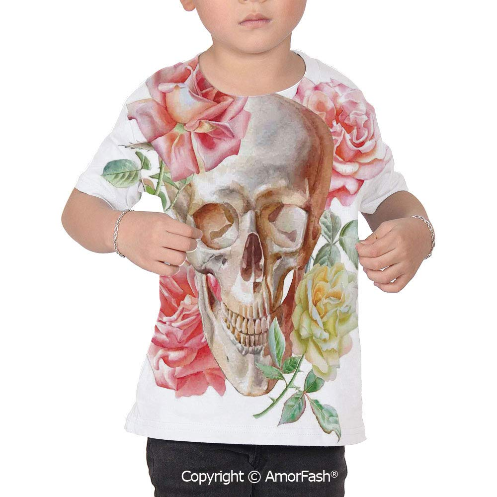 PUTIEN Skull Lovely Printed T-Shirts,Crew Neck T-Shirt of Girls,Polyester,Skull with Ro