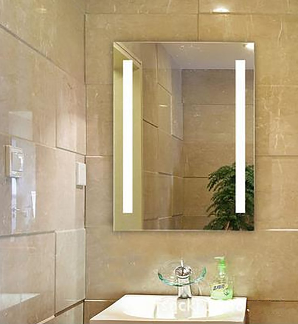 Siminda Lighted LED Frameless Backlit Wall Mirror Polished Edge Silver Backed Illuminated Frosted Line Vertical Mirrored Plate Bathroom Hanging Rectangle 31 Inch