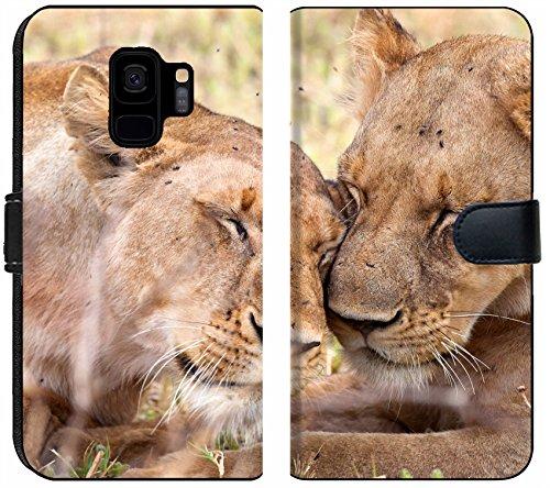 Luxlady Samsung Galaxy S9 Flip Fabric Wallet Case Lion in Tanzania National Park Image ID 26215036