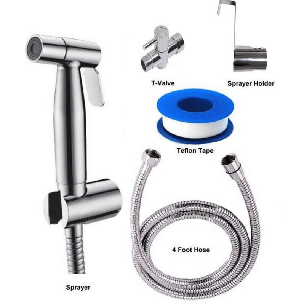 XXW HOME Toilet Hand Held Bidet Shattaf Cloth Diaper Sprayer with 7/8 inch T-Adapter Hose and Bracket Holder