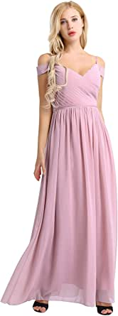 iiniim Women's Off The Shoulder Pleated Chiffon Bridesmaid Dress Formal Evening Party Gown