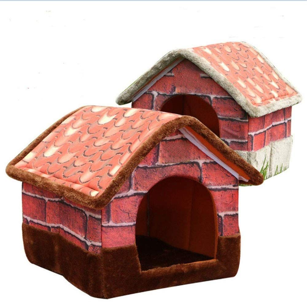 L Wuwenw Pet Kennel Removable And Washable Cat Litter Retro Brick Villa House Foldable Mat,L