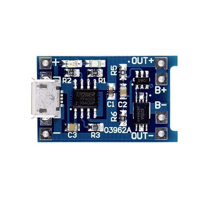 Ztoma Litio Cargador de Batería Tabla Protección Módulo, 1/2/5/10pcs Tp4056 5V 1A USB 18650 Litio Cargador de Batería Tabla Protección Módulo - 2 ...