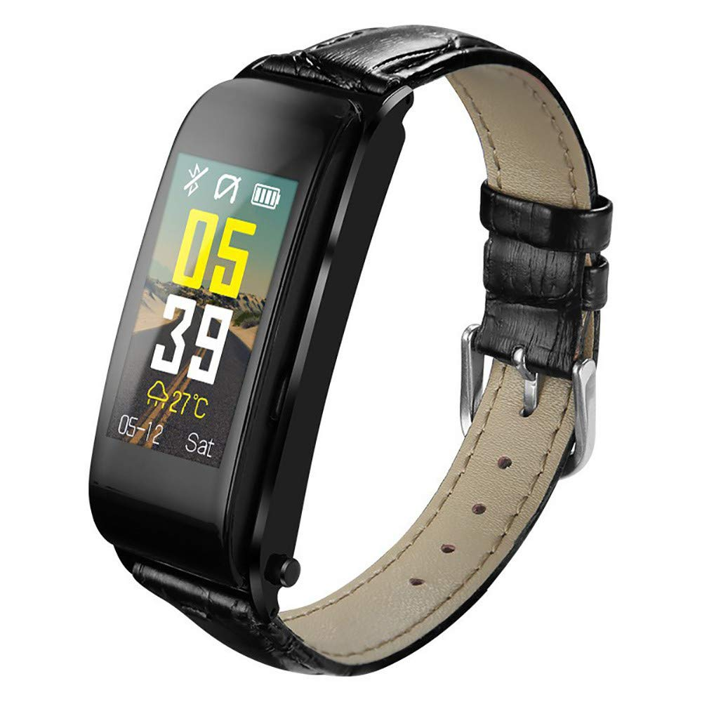 Fitness Tracker,Smartwatch,A Leather Wristband,Hot Sal Smartwatch an Alarm Clock Or A Telephone Assistant,Compatible Android and iOS(Black)