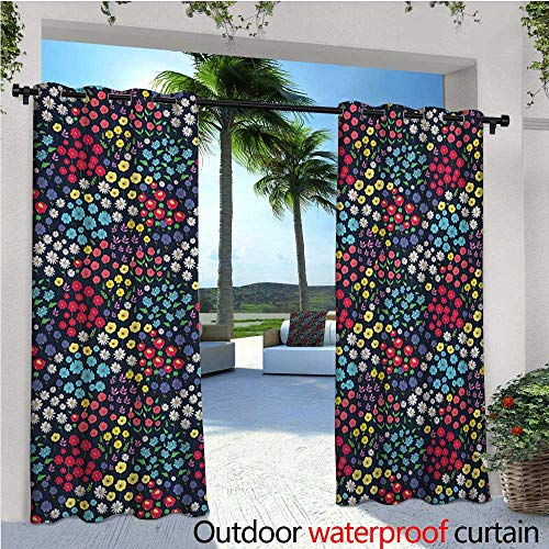 homehot Garden Art Outdoor Blackout Curtains Field in Full Blossom Various Different Flowers and Herbs Spring Day Fantasy Outdoor Privacy Porch Curtains W84 x L108 Multicolor