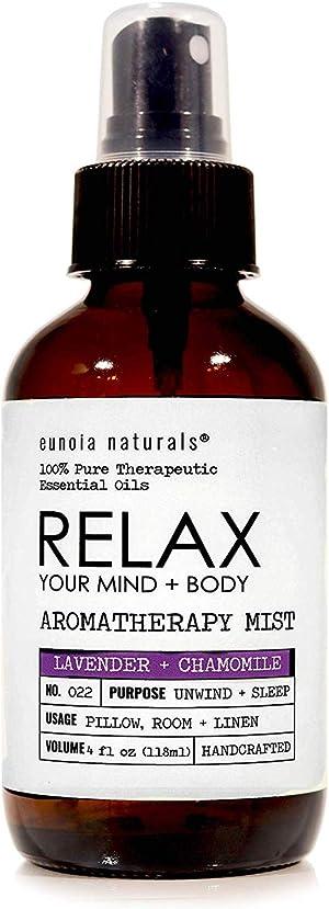 Relax- Lavender + Chamomile Aromatherapy Mist, Lavender Pillow Spray, Lavender Sleep Spray, Relaxing + Calming Aroma, Bedtime Lavender Spray, Relax Lavender Spray, 4oz Glass