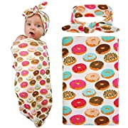 Newborn Baby Swaddle Blanket and Headband Value Set,Receiving Blankets, Doughnut
