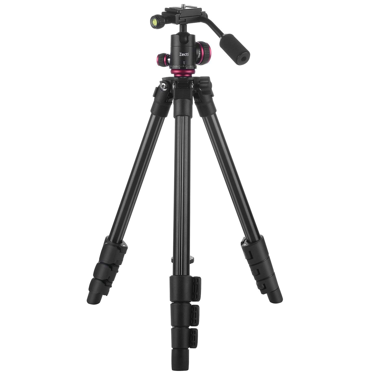 Zecti Lightweight Travel Tripod Height Adjustable 40 to 126cm Camera Tripod with Carrying Bag and Ball Head with Anti-Slip Handle and 2 gradienter (Load:3kg)