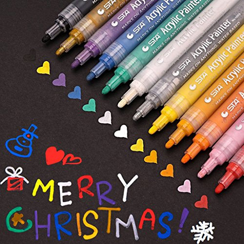 Acrylic Paint Pens,Permanent Paint Pen Art Markers Set for,Can be Used Body Painting,Rock Painting,Mug,Porcelain,Glass Painting Writing, DIY Craft Projects,Metal,Canvas,12 Colors Set