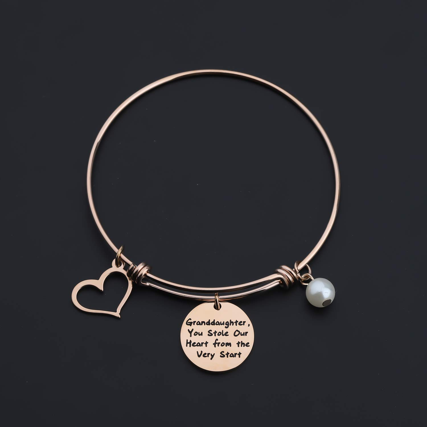 Zuo Bao Granddaughter Jewelry Gift For Her You Stole Our Heart From The Very Start Bracelet With Heart Charm Jewelry Bracelets Femsa Com