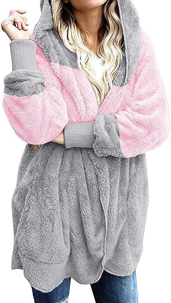 Women's Oversized Tops Open Front Hooded Fashion Draped Pockets Cardigan Coat