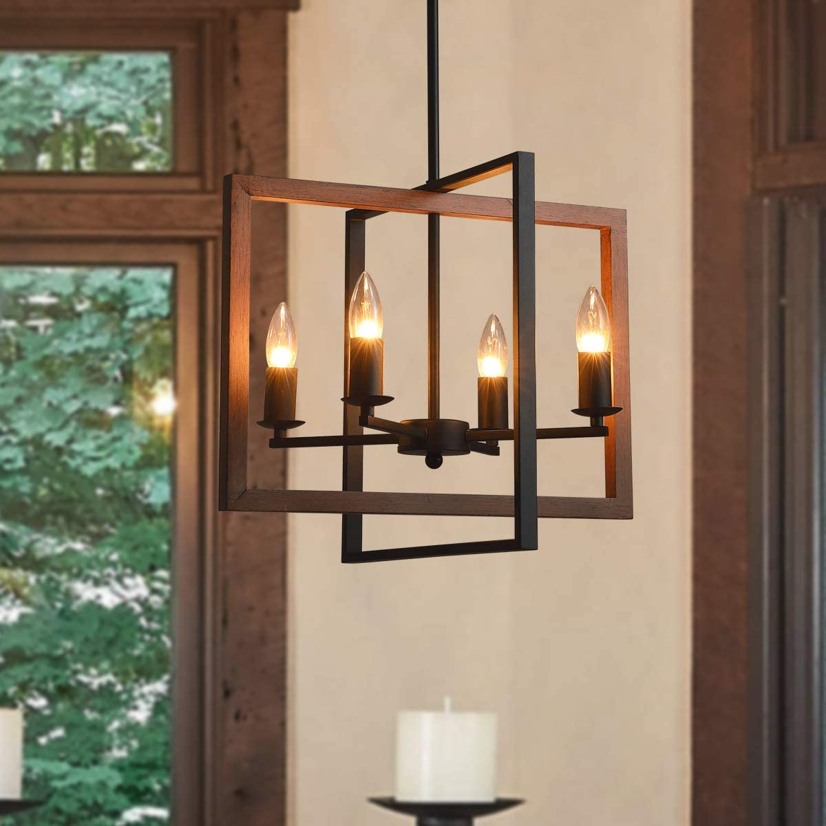 PUSU Industrial Island Light 4-Light Semi Flush Mount Chandeliers E12 Lamp Holder for Kitchen Living Room Dining Room Bedroom Bar and Restaurant.
