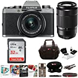 Fujifilm X-T100 Mirrorless Camera Body with XC15-45mm and XC50-230mm Lens Bundle (Dark Silver)