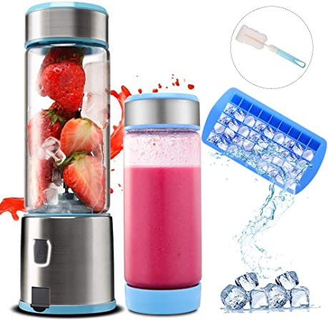 Smoothie Blender Standmixer, TTLIFE Tragbar Mixer 450ml 2 Deckel USB Rechargable 5100mAh Blender Glas mit 6 Edelstahlklingen, perfekt für Obstsäfte, Milchshake und Babynahrung, FDA/BPA-frei, Blau