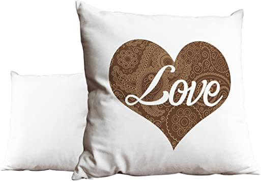 Duke Gifts Love Heart Floral Pattern Grey White Cushion Scatter Pillow 010