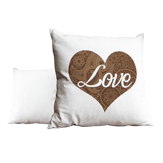 Amor corazón patrón de flores marrón blanco cojín Scatter ...