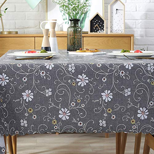 - Sun & Moon Rectangle Tablecloth PVC Waterproof and Oil Proof Retro Pattern Decorative Table Cover,Gray,135180cm(5371in)