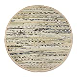 DII Contemporary Reversible Indoor Area Rag Rug, Machine Washable, Handmade from Recycled Fabrics, Unique For Bedroom, Living Room, Kitchen, Nursery and more, 36' Round - Taupe (Color may vary)