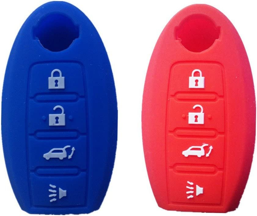 Navy Blue and Red Silicone Smart Remote Key Cover Key Fob Skin Covers replacement for Nissan Maxima Altima Gt-r Sentr Murano