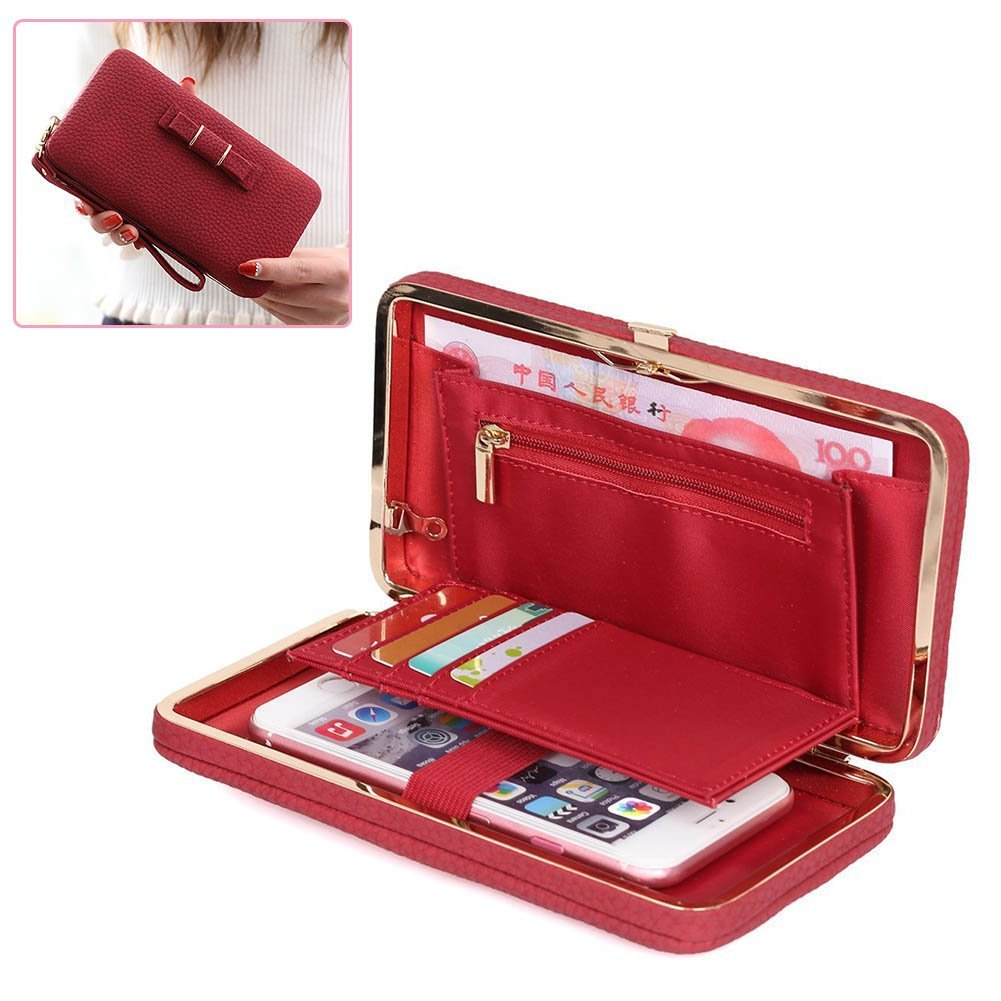 Leather Ladies Purse Wallets - Aeeque Luxury Universal Women Wallet Phone Bags Case for Samsung Galaxy S6 S7 Edge S8 S8 +/ A3 A5 J5 J7 Note 8, iPhone 8 / 8 + 7 6 6S Plus SE 5S, Huawei P10 P8 Lite 2017, Elegant Girl Bowknot Purse Cluth Phone Cases Cover wit