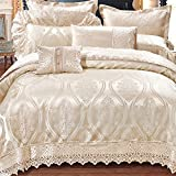 600 Tc 100% Extra-Long staple cotton french style luxury bedding collection comforter set duvet cover double bed sheet wedding festive decoration 10 Pieces white-A King
