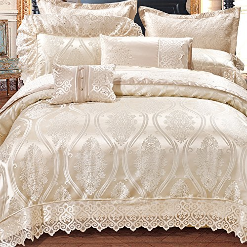 600 Tc 100% Extra-Long staple cotton french style luxury bedding collection comforter set duvet cover double bed sheet wedding festive decoration 10 Pieces white-A Queen1 by Ren&Yang