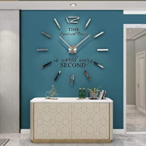 YIJIDECOR 3D DIY Wall Clock for Living Room Decor Acrylic Mirror Sticker Large Wall Clocks Battery Operated Modern Home Decoration for Office Bedroom Classroom,Silver 47""