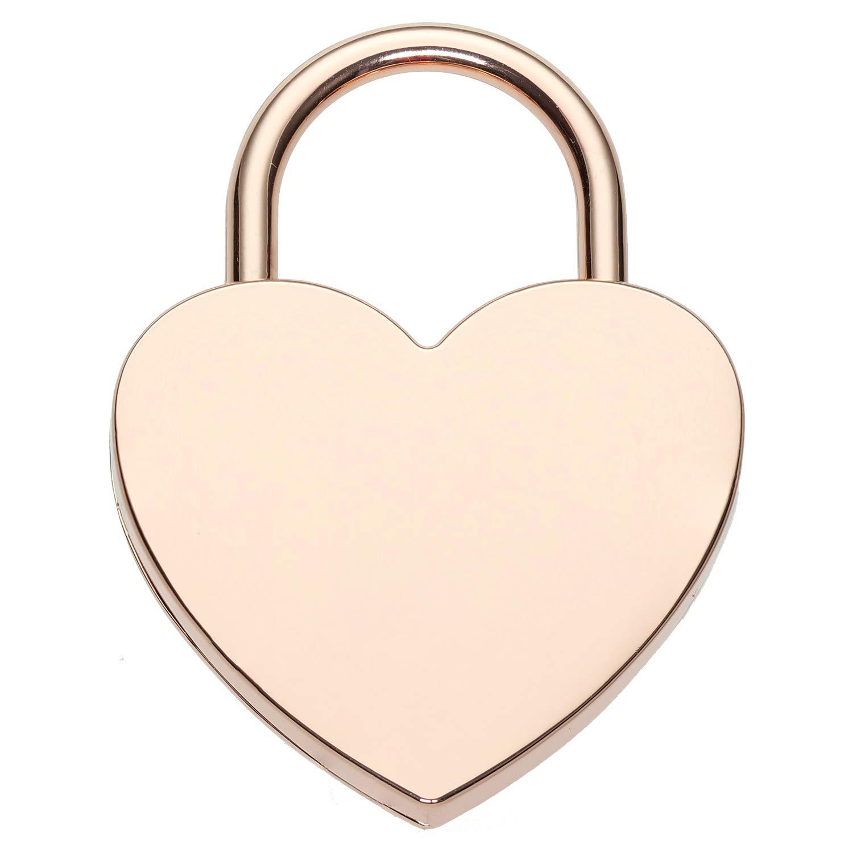 Liebesschloss mit Gravur, Herzschloss mit Schlü ssel inkl. Geschenkverpackung, Geschenkidee von AMORIDO (Vorder- und Rü ckseite, Rosé )