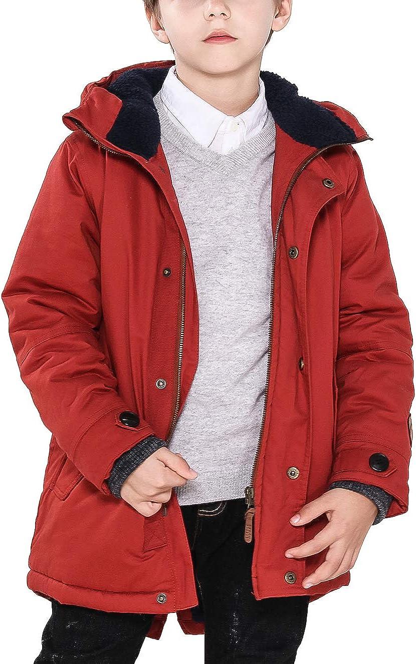 Big Boys Fur Hooded Down Cotton Coat Mid-Long Winter Puffer Jacket Fleece Lined